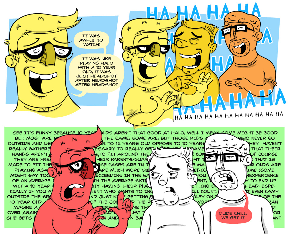 In this comic I make a joke and then over explain it to two bystanders
