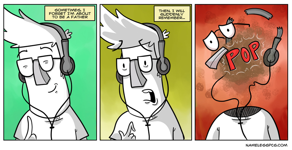 """For those wondering, I'm jamming out to """"Partyman"""" by Prince in that first panel."""
