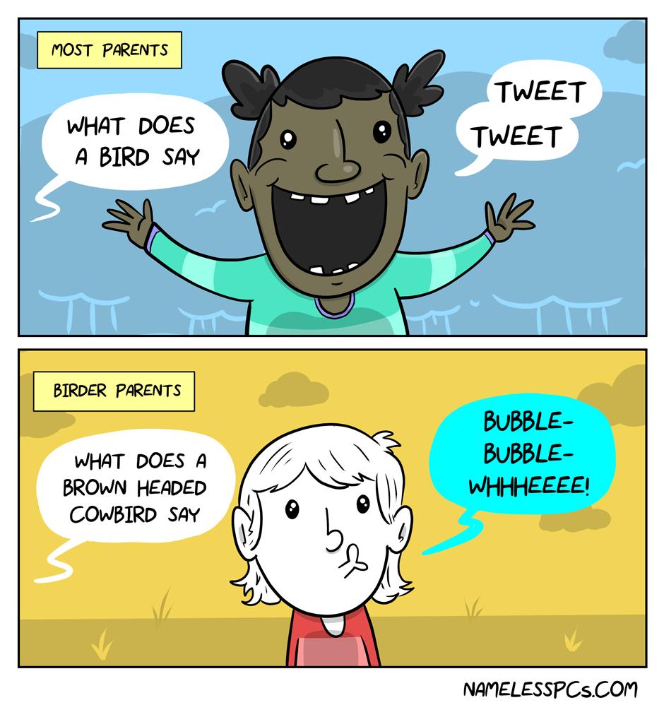 What sound does a bird make